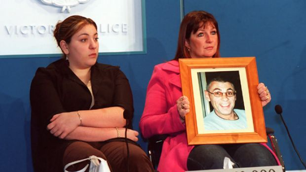 Katie Peirce with her mother Wendy in 2002 after the murder of her father, gangland figure Victor Peirce.