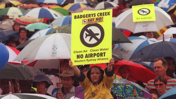 A protest against the planned airport at Badgerys Creek, which former prime minister Paul Keating says is still the best ...