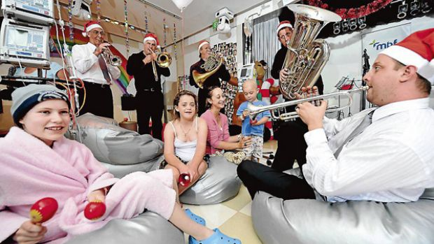 Play it again...Sydney Symphony members perform for children in the Starlight Room at the Children's Hospital at Westmead