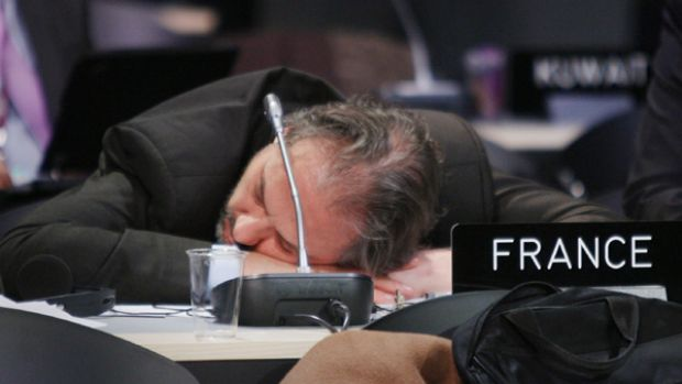 The sun had gone to bed...and a delegate at the summit took his chance to get 40 winks when an all night plenary session ...