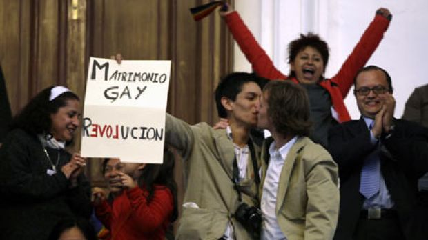 """""""Wonderful""""...Gay couples celebrate in Mexico City."""