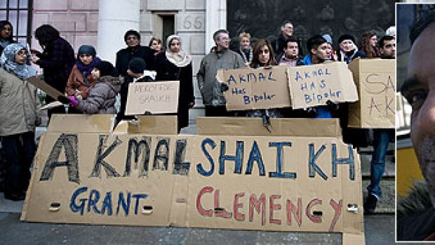 Supporters of Akmal Shaikh, inset,  holds a vigil outside the Chinese Embassy in central London.