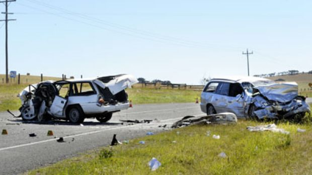 Head-on ... the aftermath of the crash on Phillip Island Road.