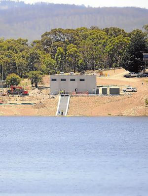 The North-South pipeline enters Sugarloaf Reservoir.