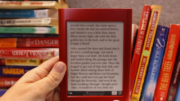 The Interead Cooler e-reader is shown at Interead's exhibit at the Consumer Electronics Show (CES) in Las Vegas.