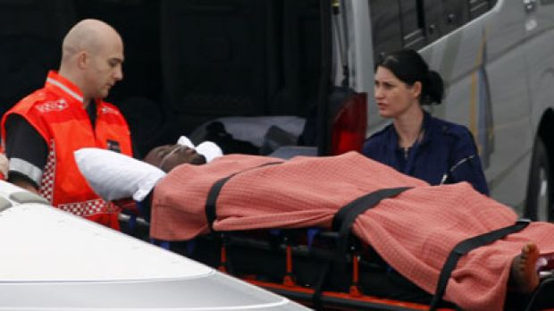 Evacuated...Togo's reserve goalkeeper Kodjovi Obilale, injured in the attack in Angola, is airlifted to a Johannesburg ...