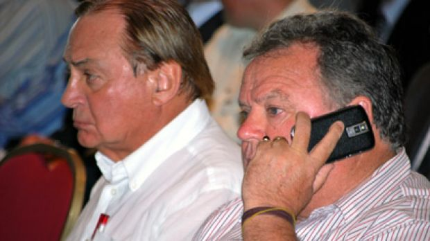Julian Grill and Norm Marlborough atttend a meeting of Griffin Coal creditors in Perth today.