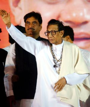 Leader of India's Shiv Sena (SS) Party Bal Thackeray, right.