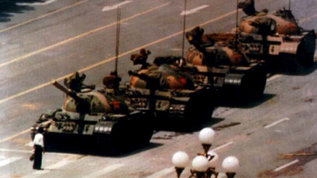 The iconic photo taken during the 1989 Tiananmen Square uprising when an unknown protester blocked a column of tanks.