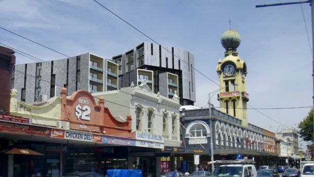 Swan Street Richmond, with proposed redevelopment in the background. Will new upwardly mobile residents accept street ...