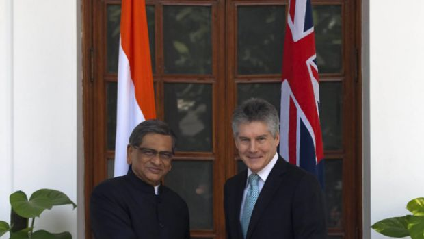 The Australian Foreign Minister Stephen Smith meeting Indian Foreign Minister S M Krishna at Hyderabad House, New Delhi, ...