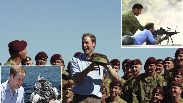 Friendly rivalry ... Prince William takes aim at Holsworthy Army Barracks, top right, and mixes with soldiers, centre, ...