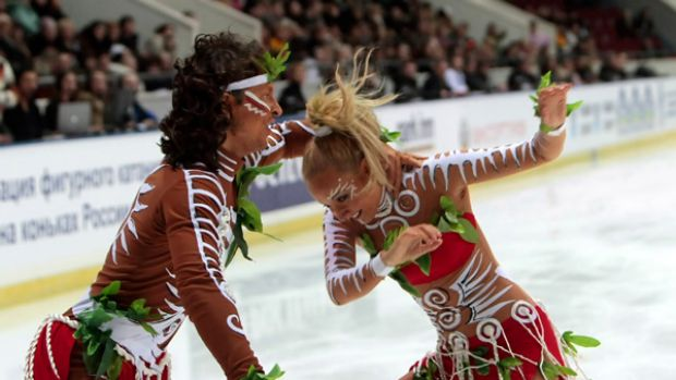 Russian ice dancers Oksana Domnina and Maxim Shabalin perform the routine that has angered indigenous Australians.