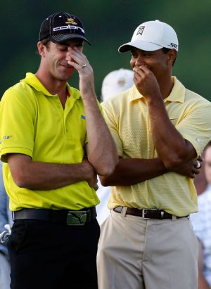 Happy times ... Geoff Ogilvy shares a moment with Tiger Woods during the 2007 US Open at Oakmont.