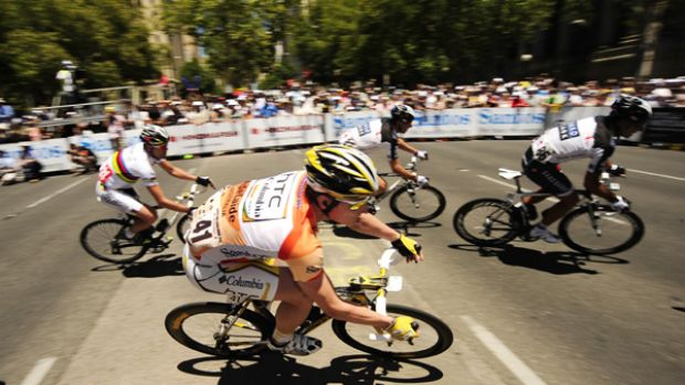 Andre Greipel on his way to taking overall honours for the second time yesterday.