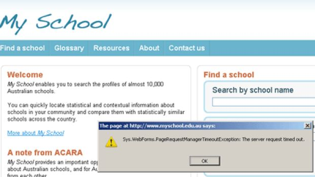 Fail ... the My School website at 7.30 this morning.