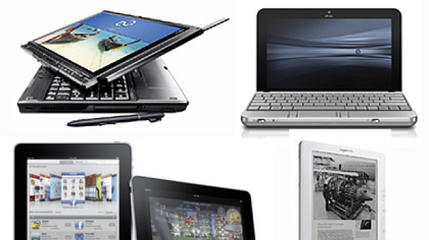 Clockwise from top left ... tablet PC, netbook, Kindle and iPad.