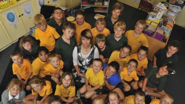 Peri Dix, principal of Marysville Primary School, with all her students - from prep to grade 6.