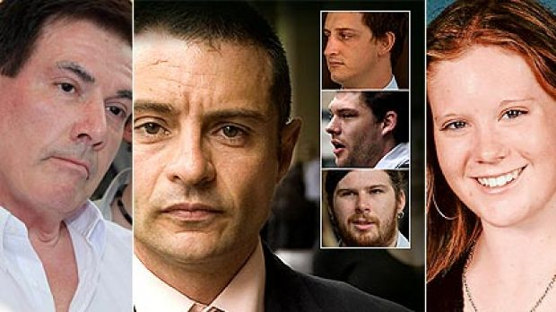 Brodie's father Damien Panlock, left, and the four men who relentlessly bullied his daughter - Marc Luis Da Cruz with, ...