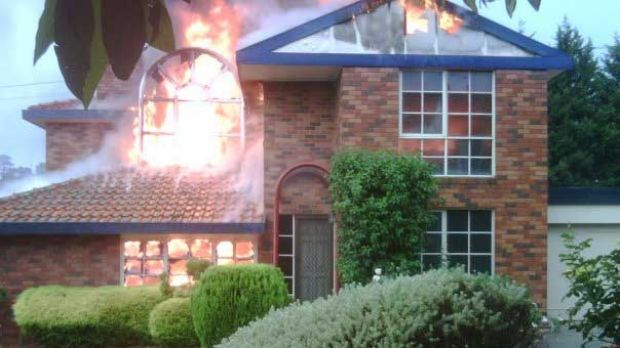 Freakishly unlucky... this Templestowe house, photographed by teenager Briony Wilson, was struck by lightning and ...