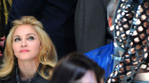 Not invited ... Madonna takes in Marc Jacobs' 2009 show for New York Fashion Week.