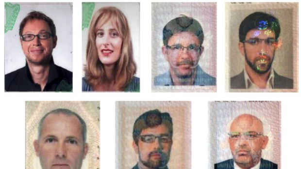 This combination image shows 11 suspects wanted in connection with the killing of Mahmoud al-Mabhouh.