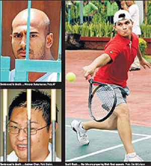 (clockwise from top) Myuran Sulumaran, Scott Rush and Andrew Chan.