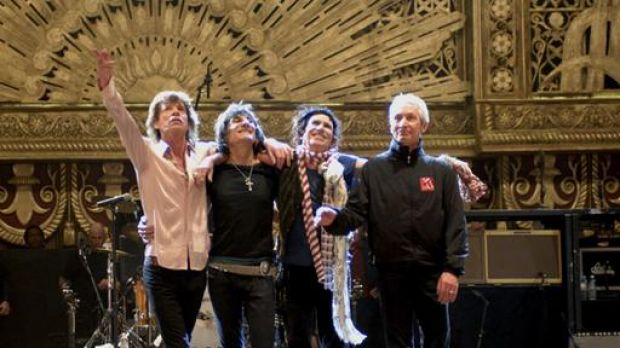 The Rolling Stones: Mick Jagger, Ronnie Wood, Keith Richards, Charlie Watts in a scene from <i>Shine a Light</i>.