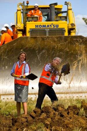 Kevin Rudd and MP Catherine King turn the first sods at the Anthony's Cutting realignment between Ballarat and Melbourne.