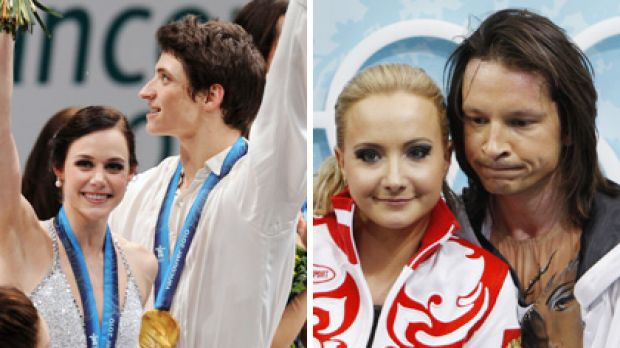 Gold medallists, Tessa Virtue and Scott Moir of Canada, on the podium, while Russian favourites Oksana Domnina and Maxim ...