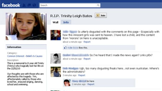 A screengrab of one of the Facebook groups set up after the death of Trinity Bates.