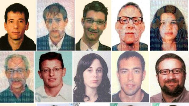 A combo of identity photographs released by the Dubai police, shows the 15 new suspects in last month's killing in the ...