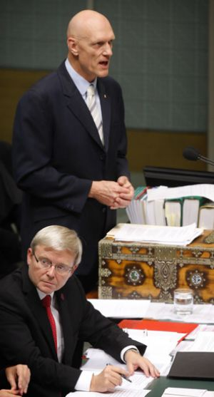Prime Minister Kevin Rudd and Environment Minister Peter Garrett in parliament on Monday.