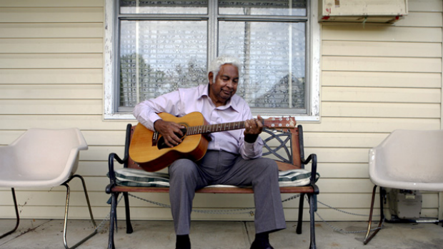 Net concerns … Jimmy Little at his Lilyfield home during the week.