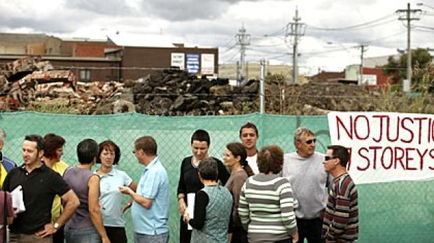 Residents gather at the site of a proposed development in Coburg.