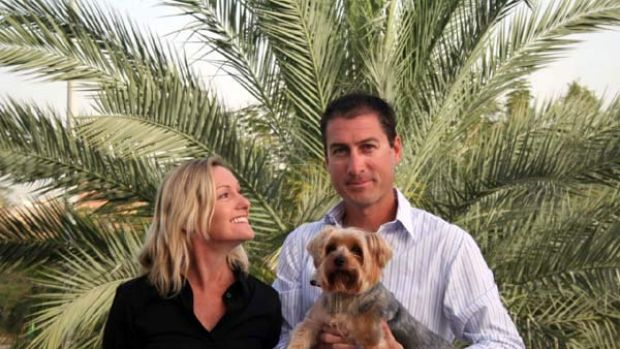 Marcus Lee in Dubai with his wife, Julie, and Yorkshire terrier Dudley.
