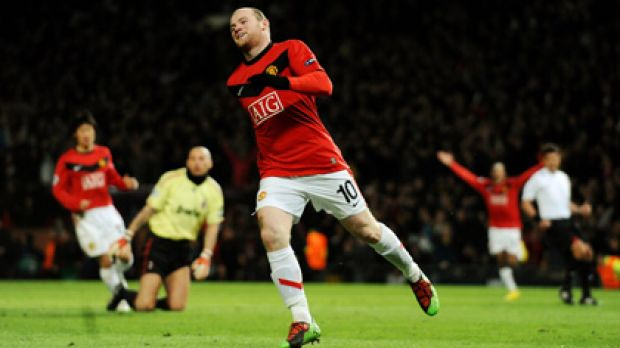 Wayne Rooney celebrates scoring his second goal just after half-time.