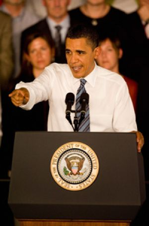 Barack Obama promotes his health plan in Missouri.