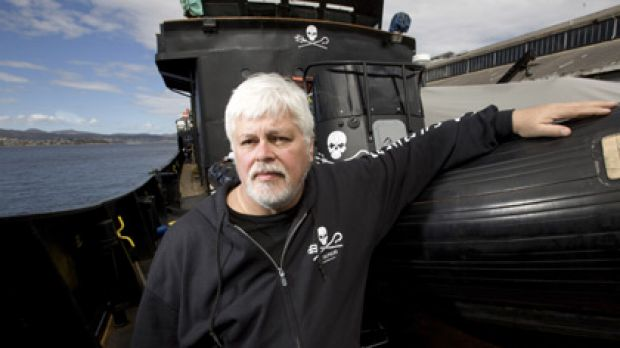 ''I don't see myself retiring, ever'' ... Paul Watson aboard his ship the Robert Hunter.