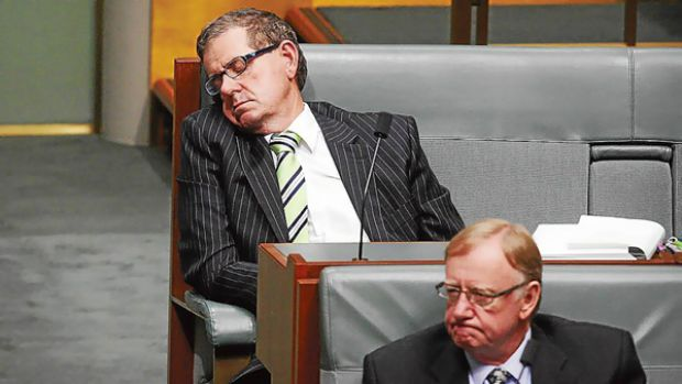 Age photographer Glen McCurtayne took this picture of a sleeping Peter Slipper.