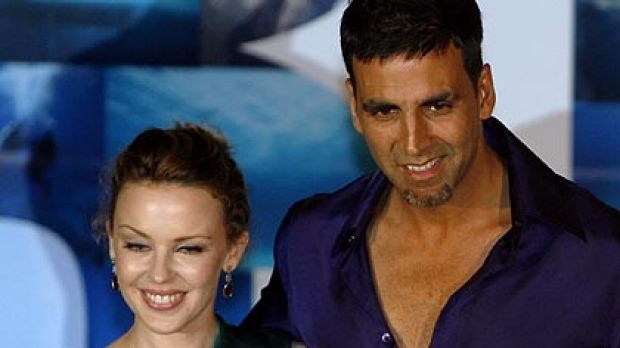 Kylie Minogue with Bollywood star Akshay Kumar  during the promotion of the film Blue.