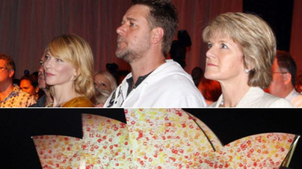 Russell Crowe, Cate Blanchett and Julie Bishop at the Overseas Passenger Terminal; and the illuminated Opera House.