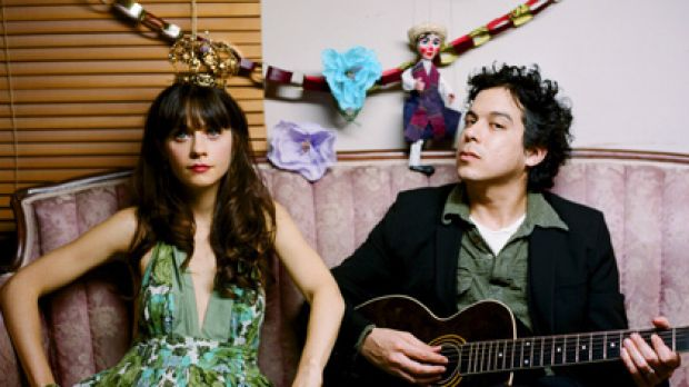 She & Him ... bandmates Zooey Deschanel and Matt Ward.