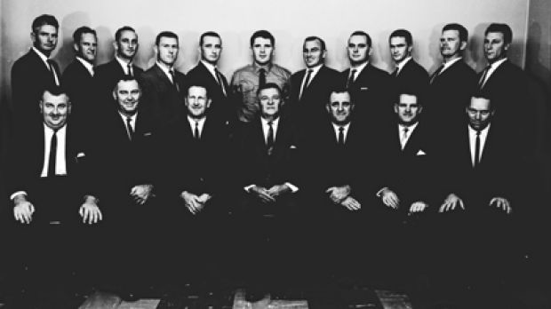 Small and secretive ... Queensland Police's Special Branch members pictured with Police Commissioner Frank Bischof ...