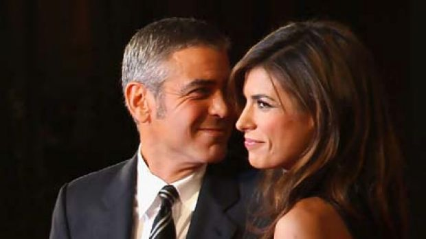 Style trial ... George Clooney and Elisabetta Canalis.