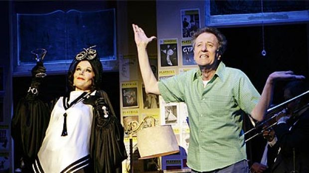 Geoffrey Rush onstage with Rhonda Burchmore in The Drowsy Chaperone, in Melbourne this year.