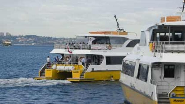 Ferry land ... a Sydney Ferries vessel is in the background as the Manly Fast Ferry (centre) and Sydney Fast Ferries ...
