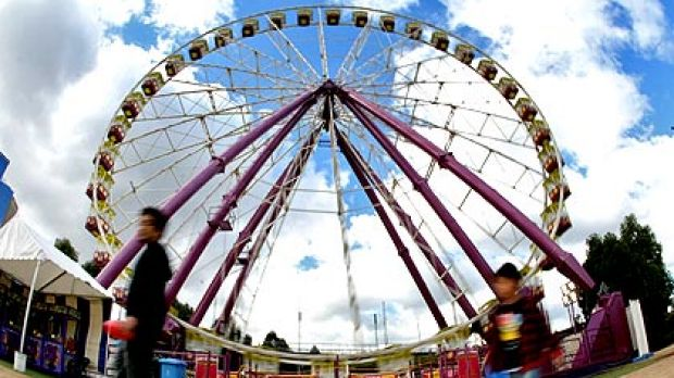 The Giant Sky Wheel at Birrarung Marr on the banks of the Yarra River in the city.