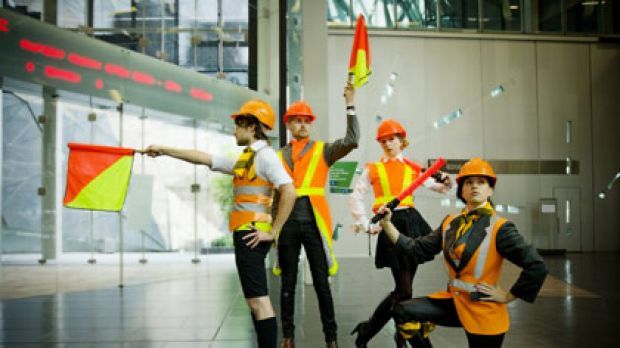 Stopping traffic...The High-Vis Dandy's at Federation Square.