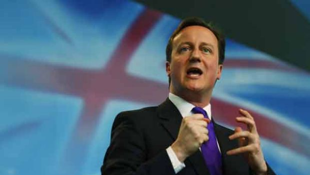 Britain's Conservatives leader David Cameron delivers his speech during the launch of his party's manifesto in London.